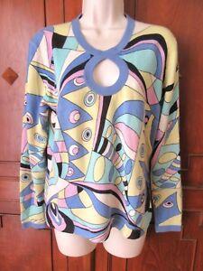 Neiman-Marcus-Cashmere-Sweater-Multicolor-034-Mod-034-retro-keyhole-neck-XL-VGUC