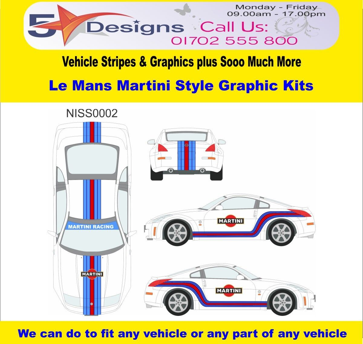 /fits Nissan 350Z 203-09 Le Mans Martini Race Rally Logo Graphics Kit 2