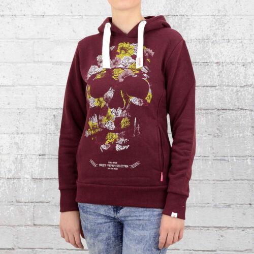 Yakuza Premium Frauen Kapuzenpullover Floral Skull GH2150 weinrot Kapuzensweater