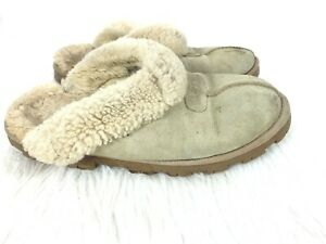 a1b6493ea11 Details about Ugg Coquette Slip on Shoes size 9 Womens Slippers Sheepskin  Hard Sole Sand Beige