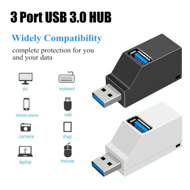 Mini 3 Ports USB 3.0 Hub High Speed Data Transfer Splitter Box Adapter Laptop^