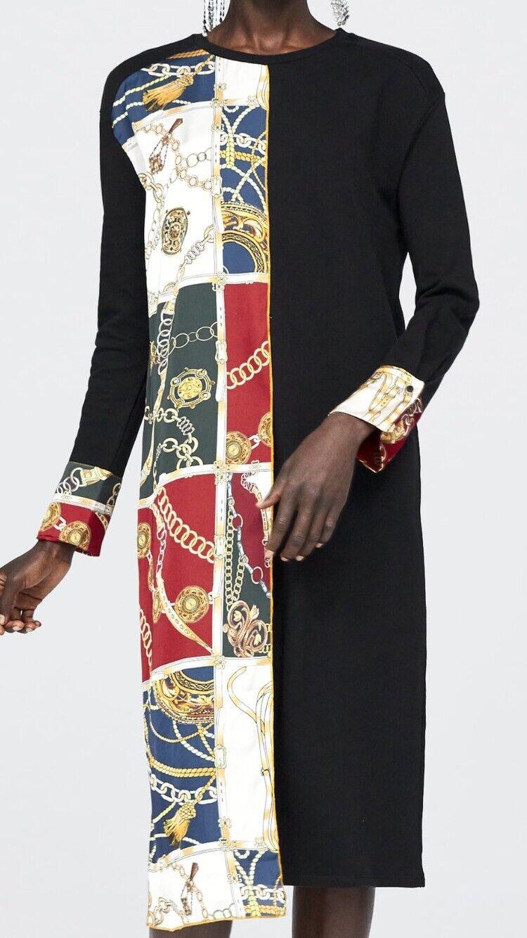 2bd05472 NWT NEW ZARA Contrasting Chain Print Midi Dress Size Medium Maxi Shirt Skirt