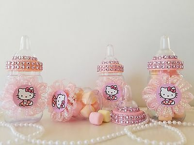d1a493441 12 Hello Kitty Fillable Bottles Favors Prizes Games Baby Shower Girl  Decorations | eBay