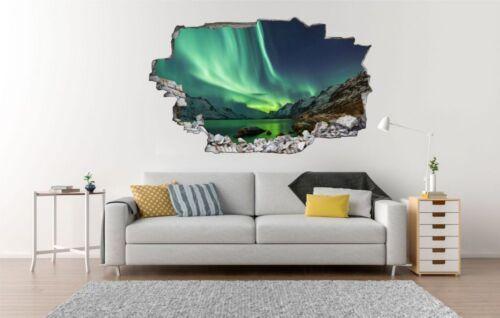Polarlichter Alaska Eis Landschaft Wandtattoo Wandsticker Wandaufkleber C0653