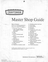 1969 Craftsman 9-2911 Master Shop Guide Instructions