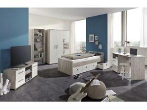 Details zu Jugendzimmer Bente 5 Teile Komplett Set Kinderzimmer Jugendbett  Schreibtisch