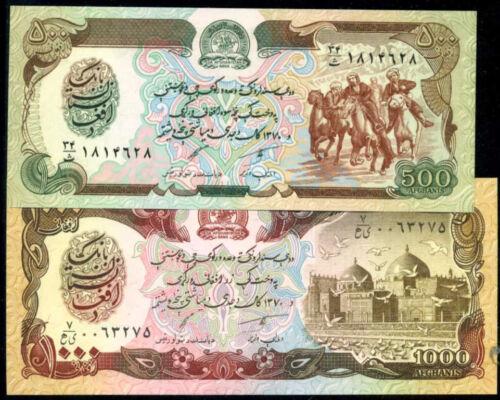 AFGHANISTAN  500+1000 AFGHANIS 1991   P 60+61 Set 2 Notes  Uncirculated