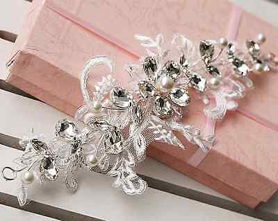Wedding Headpiece Lace Ivory Pearl Rhinestone Crystal Hair Tiara Jewelry