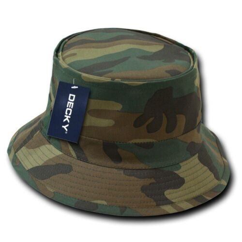 Woodland Camo Fisherman/'s Fishing Sun Bucket Safari Hiking Boonie Cap Hat S//M