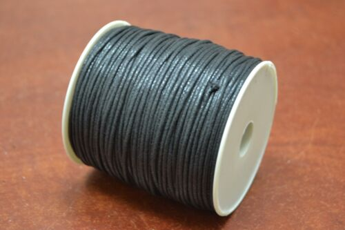 100 METER BLACK WAXED COTTON BEADING CORD STRING ROLL 1.5MM #F-50