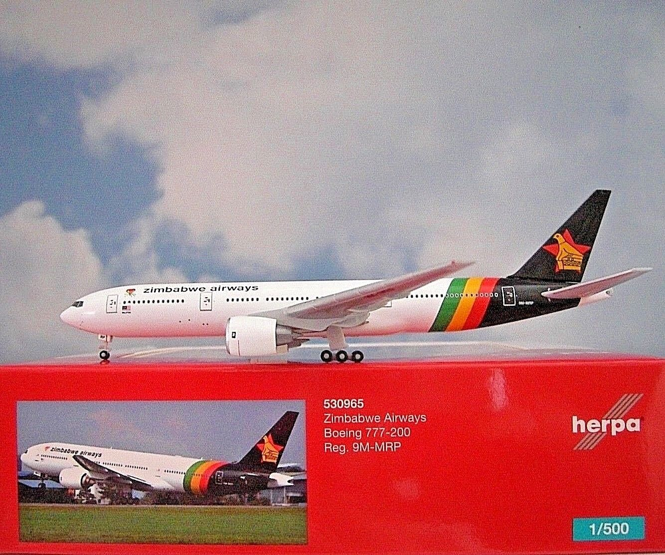 Herpa Wings 1 500 Boeing 777-200 Zimbabwe Airways 9m-mrp 530965 modellairport 500