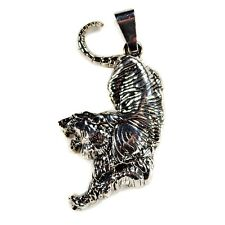 TIGER PENDANT Charm Jewelry NEW Lion Puma Jungle Cat Necklace Silver Tone Metal