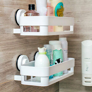 Bathroom Corner Shelf Suction Rack Organizer Cup Storage Shower Wall Basket Tool