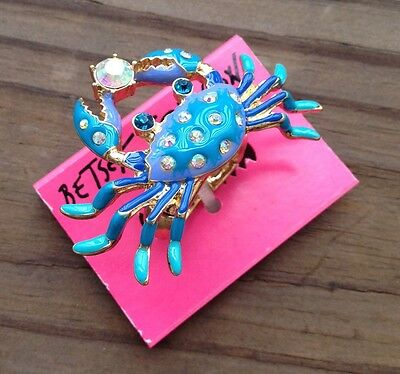 Betsey Johnson Creatures Of The Sea Crab Stretch Ring Size 7-9