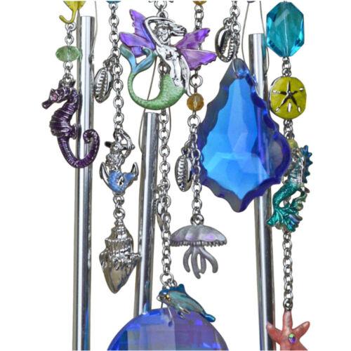 KIRKS FOLLY Mermaid Lune Cristal Wind Chime Silvertone