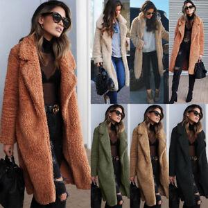 Women-Warm-Teddy-Bear-Coat-Cardigan-Ladies-Winter-Trench-Overcoat-Jacket-Outwear