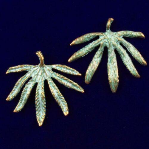12pcs 41x42x3mm Carved Brass Bronze Peculiar Leaf Pendant Bead D201942604
