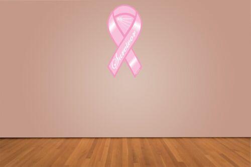 Breast Cancer Survivor Support Ribbon Printed Die Cut Vinyl Decal Sticker SIZES