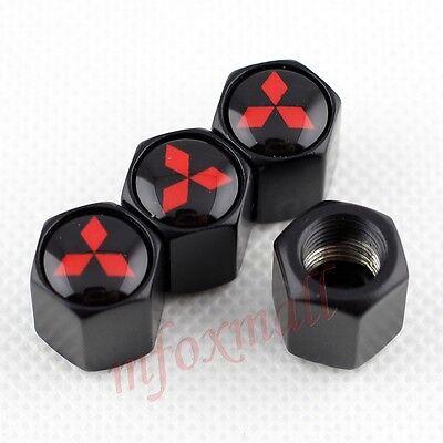 Fits MITSUBISHI 4 x Matt Black Tyre Valve Dust Caps