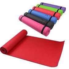Yoga Pilates Mat Workout PVC Gym 6mm Fitness Non Slip Floor Exercise Carry Strap