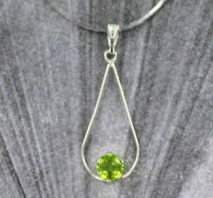 6mm-Peridot-Gemstone-Pendant-Necklace-Sterling-Silver-with-Chain