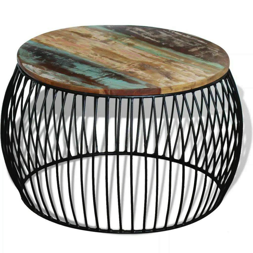 Details About Solid Reclaimed Wood Round Coffee Side End Couch Table Nightstand