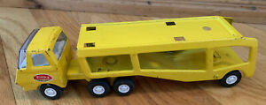Vintage-Tonka-Car-Carrier-Pressed-Steel-Mini-1970-039-s-Yellow-Hauler-2-Pieces-Rare