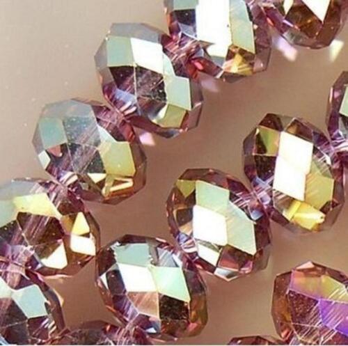 perles lâches naturel facetté cristal 4X6 mm 98pcs Paon violet Multicolore
