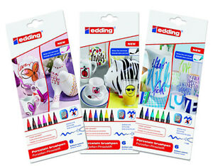 Edding-4200-Porcelain-Brush-Pens-Oven-Bake-Marker-Pen-Sets-Three-Colour-Sets