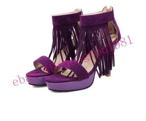Tassels strap stylish womens party Mid-heels platform zippers sandals pumps shoe