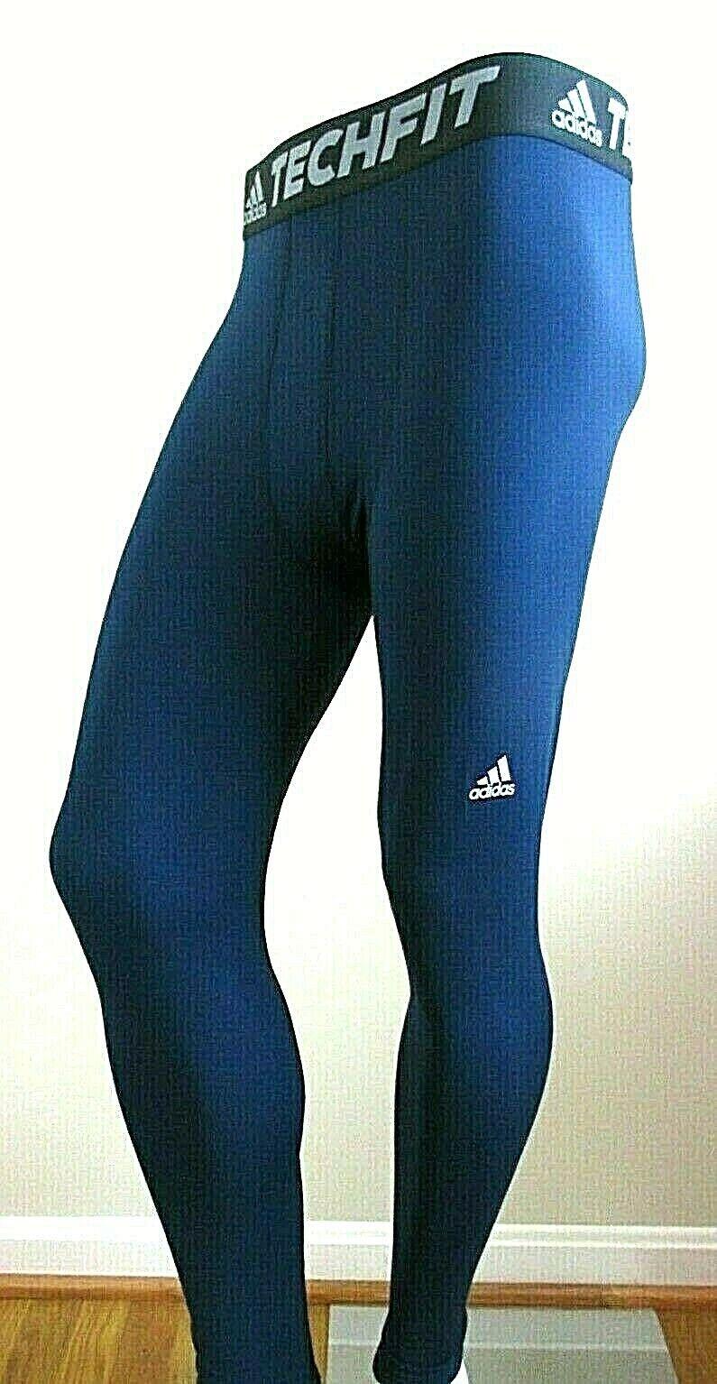 Adidas Mens Techfit Climawarm Full Length Compression Base Layer Tights blueeeeeeeee New