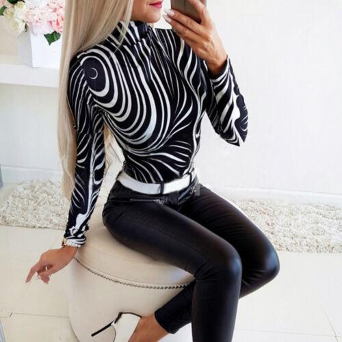Women Turtleneck Long Sleeve Tops Ladies Casual Printed Slim Fit Blouse Pullover