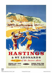 HASTINGS SUSSEX RETRO VINTAGE RAILWAY TRAVEL POSTER ADVERTISING HOLIDAY