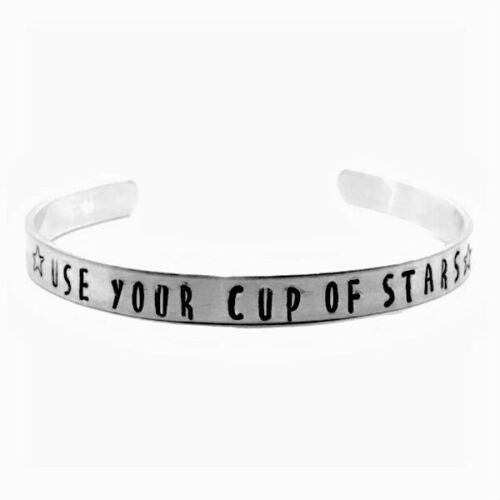Cup of Stars Hand Stamped Aluminum Haunting of Hill House Cuff Bracelet Handmade