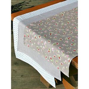 Table coureur en coton beige-blanc à pois 150 x 45cm  </span>