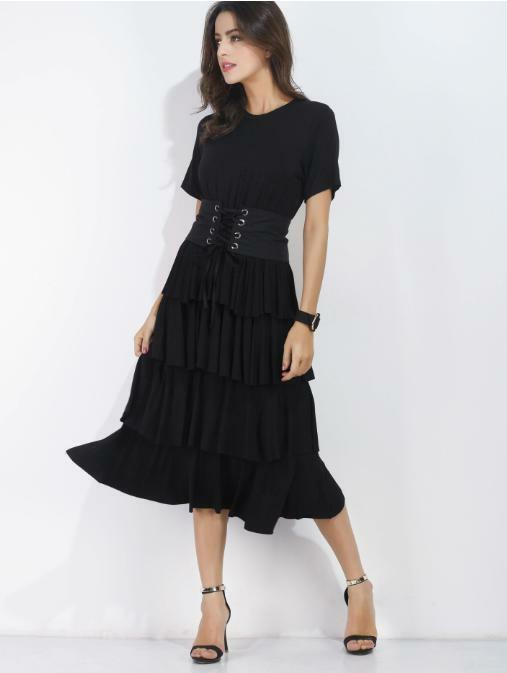 Black Flounce Tiered Dress with OBI Black Belt Sizes S