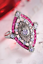 Women 925 Silver Pink Sapphire Proposal Wedding Engagement Ring Beauty Size 5-10