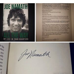 Joe-Namath-Rare-Signed-Autographed-All-The-Way-Autobiography-Book-Jets-1st-1st