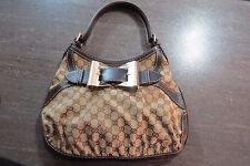 100% AUTHENTIC Gucci Shoulder bag GG canvas leather Beige Dark brown