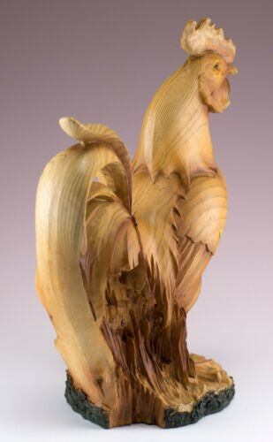 """Rooster Chicken Faux Carved Wood Like Figurine 9/"""" High Resin Statue New"""
