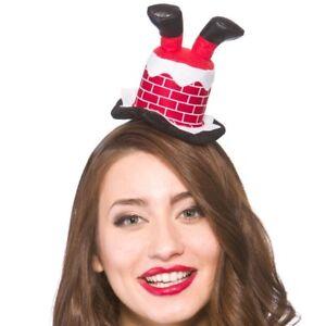 Ladies-Christmas-Fancy-Dress-Mini-Santa-in-Chimney-Hat-on-Headband-New-w