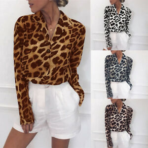 7f91b0fb4e79 Women Plus Size Sexy Leopard Print V Neck Long Sleeve Casual Chiffon ...