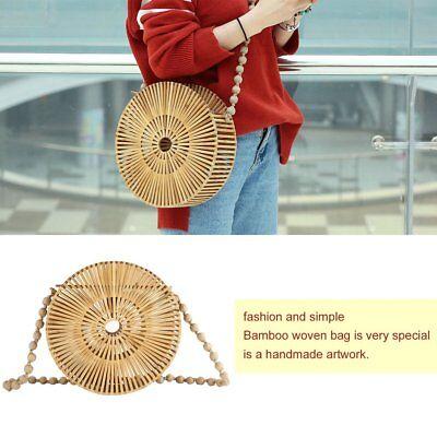 Round Bamboo Woven Bag Fashion Shoulder Bag Women Hollow Out Crossbody KI