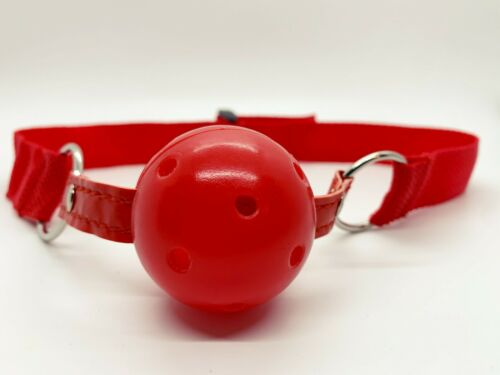 Red Hollow Gagged Mouth Ball Role Play Gag Toy Faux Leather Adjustable Strap