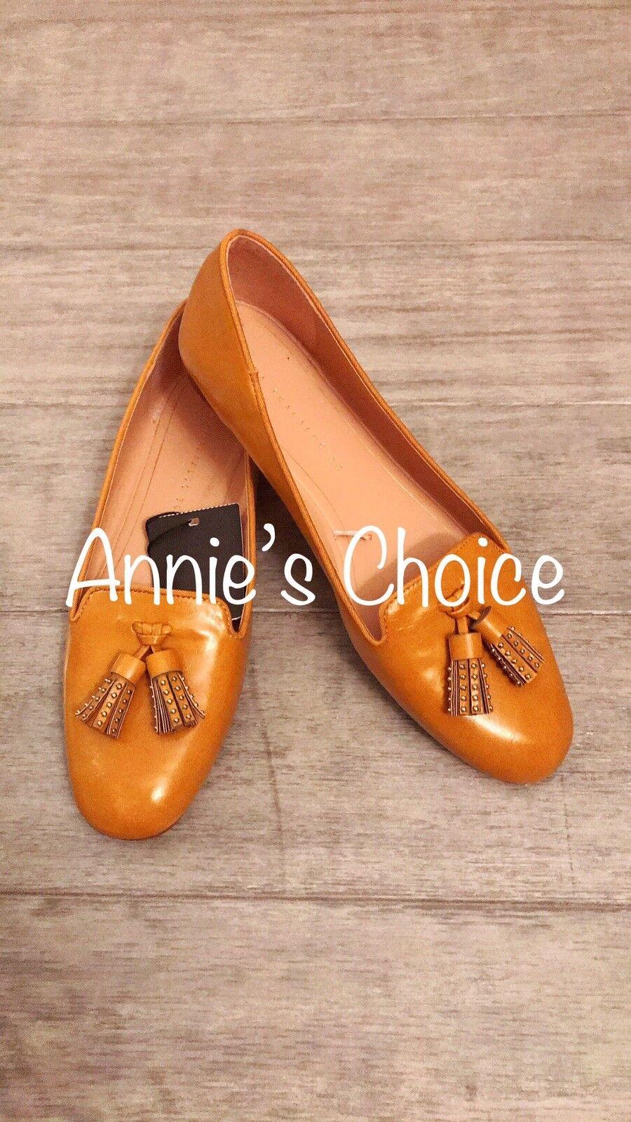 ZARA Women's Tasseled Flat shoes(Mustard, US  7.5 EUR  38)