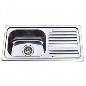 NEW Chroma Stainless Steel Slimline Kitchen Sink 760x360x170 Single ...