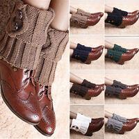 Women's Ladies Girls Crochet Knit Ankle Leg Warmers Short Trim Boot Socks CUFFS
