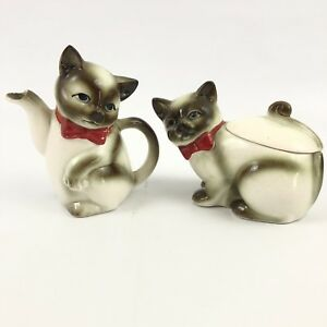 Vintage-Ceramic-Siamese-Cat-Creamer-And-Sugar-Bowl-with-Lid-Japanese-Kasuga-Ware