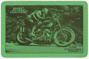 Playing-Cards-1-Single-Card-Old-ROPER-MOTORS-MOTORCYCLE-Advertising-Bike-Racing