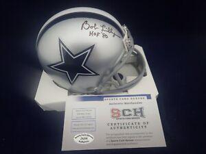 Bob-Lilly-Signed-Auto-Cowboys-Mini-Helmet-W-HOF-80-SCH-Authentic